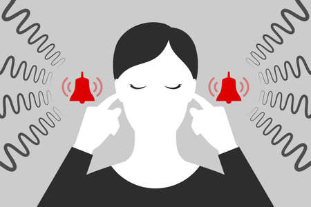 Woman with closed eyes is plugging her ears with fingers when suffering from tinnitus. Red bells as symbol of unbearable ringing in ears. Concept of diseases of hearing organs or neurology problems Çizim
