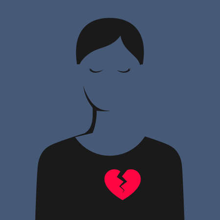 Silhouette of sad woman with closed eyes and with bright red broken heart. Unhappy relationships, betrayal, or the loss of beloved person. Concept of relations and breakup Ilustrace