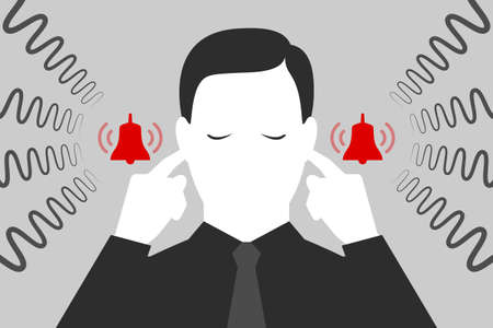 Man with closed eyes is plugging his ears with fingers when suffering from tinnitus. Red bells as symbol of unbearable ringing in ears. Concept of diseases of hearing organs or neurology problems Çizim