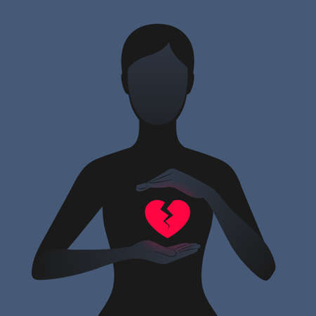 Dark silhouette of woman carefully holding hands near her red glowing broken heart. Unhappy relationships, betrayal, or the loss of beloved person. Concept of relations and breakup Ilustrace
