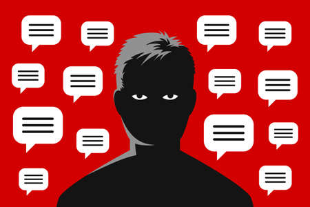 Man silhouette with tired upset eyes, and many message clouds are around. Concept of different advices, recommendations and directives, tiredness from social media pressure and approval of others