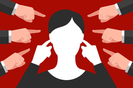 Woman is plugging her ears with index fingers, not wanting to hear advices, recommendations and directives, many pointing gestures are around. Concept of social pressure or pressure at work Illustration