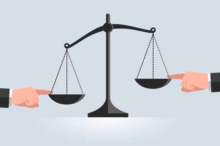 Scales and hands touching the bowls with index fingers from different sides. Arguments, evidence and tricks in trial. Concept of judging, trial and justice