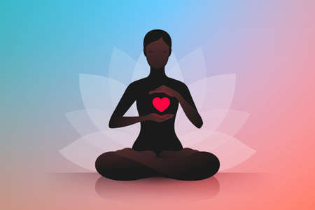 Dark silhouette of slender woman sitting in lotus position and holding hands near her red burning heart. Symbol of lotus flower at background. Concept of harmony and tranquility in heart and thoughts