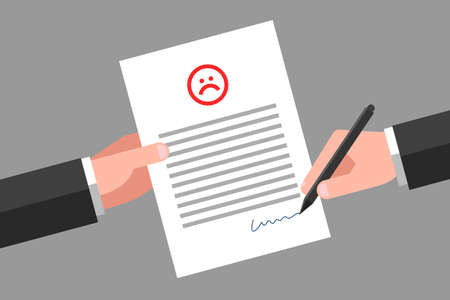 One hand is holding paper with unhappy sad face icon and text, another hand is signing it. Concept of bad review, negative feedback, customer complaints about service or product quality