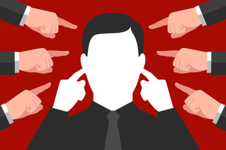 Man is plugging his ears with index fingers, not wanting to hear advices, recommendations and directives, many pointing gestures are around. Concept of social pressure or pressure at work