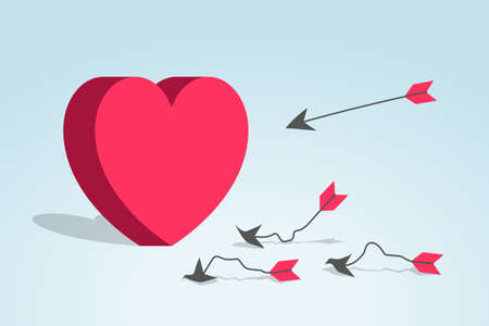Red heart, broken and distorted arrows are near, and new arrow is flying to heart. Concept of not wanting to fall in love and having relationship, insensitivity, ignoring and failed dating attempts