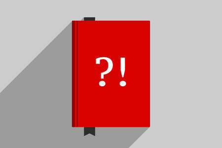 Red book with big white question mark and exclamation mark at cover. Concept of manual, handbook, collection of frequently asked questions