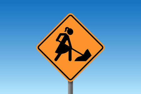Road works traffic sign with stylized woman figure wearing dress, digging instead of male worker. Concept of woman emancipation, equal rights and equality at work Ilustración de vector