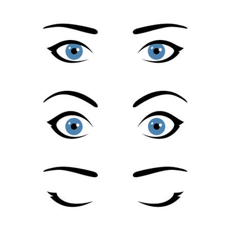 Set of stylized woman's eyes expressing different emotions, template for your design, open eyes with calm neutral expression, widened eyes with surprised look, closed eyes