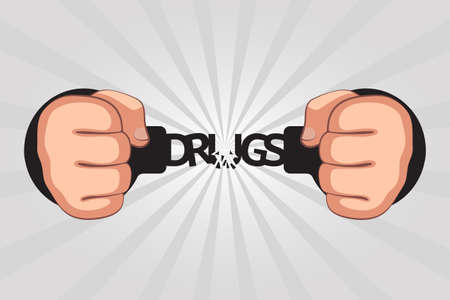 """Handcuffed hands with clenched fists are breaking chain shaped like word """"drugs"""". Concept of getting rid of drug addiction, cleansing and detoxing of body, getting free from bad unhealthy habits"""