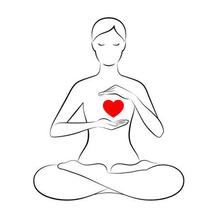 Black outline silhouette of slender woman sitting in lotus position and holding hands near her red heart, isolated over white background. Concept of harmony and tranquility in heart and thoughts