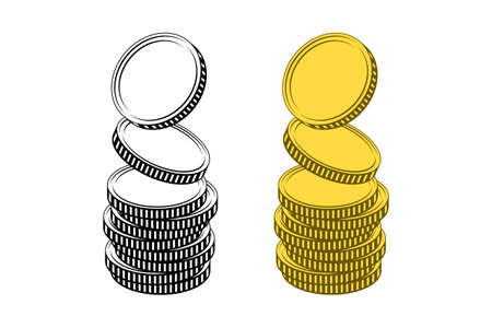 Stacks of coins without any currency sign, isolated over white background, in black and white and yellow colors. Concept of income, profit, successful business Vettoriali