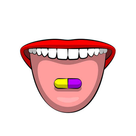 Open woman's mouth and colorful pill on tongue, girl's lips with bright red lipstick applied, broadly smile with teeth. Concept of healthy diet nutrition, using vitamins and supplements, and health