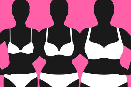 Dark silhouettes of different female figures, white underwear of different sizes, choosing lingerie by size and body proportions, concept of body positive movement and beauty diversity