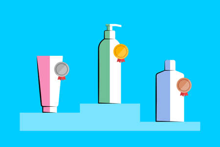 Three cosmetic products are placed on the podium and marked with gold, silver and bronze award medals. Concept of review, testing and evaluation of cosmetics, user reviews, client feedback and ratings