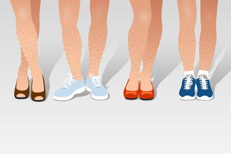 Various unshaved hairy woman's legs in different poses and with different shoes on feet, sport and classic styles. Concept of fashion and beauty trends, body positive