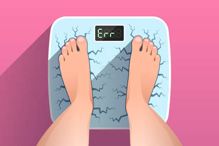 Woman is standing on broken cracked weight scales, over colored background, top view of female feet. Weight measurement of obese person. Concept of overweight, unhealthy lifestyle and dieting