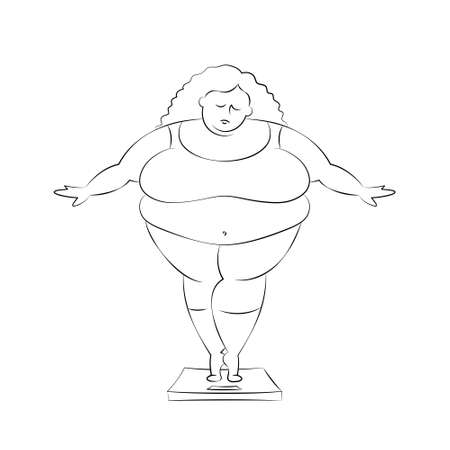 Very fat woman wearing pink sports suit is standing on bathroom scales, measuring her weight. Concept of unhealthy lifestyle, body positive, obesity, need for dieting and weight loss. Funny character