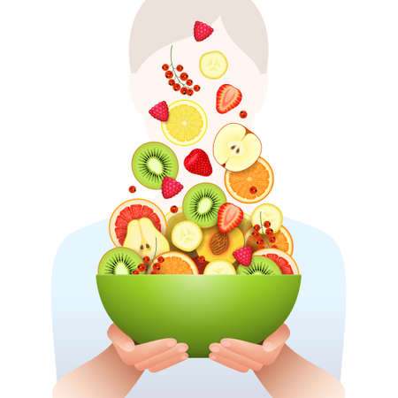 Various fresh fruits and berries are falling in large green bowl in hands of woman standing behind over white background. Salad cooking, raw food diet, low calorie products, vegetarian food concept Ilustrace