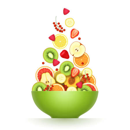 Various fresh ripe fruits and berries are falling in large green bowl over white background. Salad cooking, raw food diet, low calorie products, vegetarian food concept Vecteurs