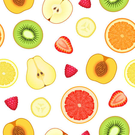 Seamless pattern with various sliced ripe fresh fruits and berries. Organic natural healthy background, healthy food, raw food diet concept