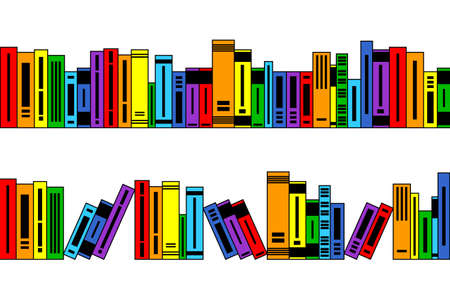 Many different bright colored books, seamless borders for design and decorating, school and library background, concept of knowledge, education and information
