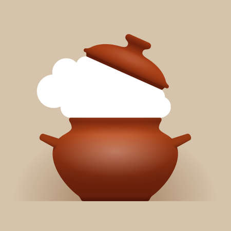 Brown ceramic pot of soup or stewed food with raised lid and white hot steam, with place for your text, design for menu or recipe