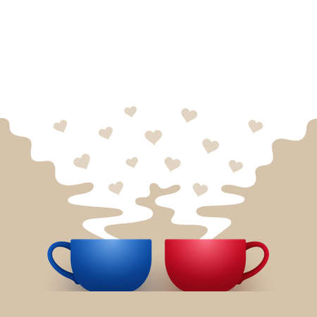 Blue and red ceramic cups of hot drink are standing side by side, white steam with hearts is above them, with space for your text and design. Concept of tea time of couple in love, family pastime
