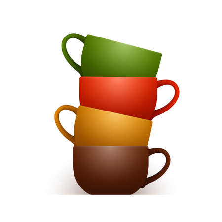 Four cute ceramic cups of different colors are stacked one into another and isolated over white background, bright crockery for tea or coffee, drinking accessories