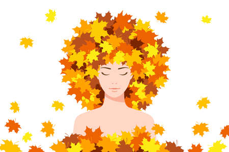 Beautiful young woman with closed eyes, smiling slightly, with maple leaves on her head and around her. Concept of seasonal specifics, autumn concept, harmony and good mood