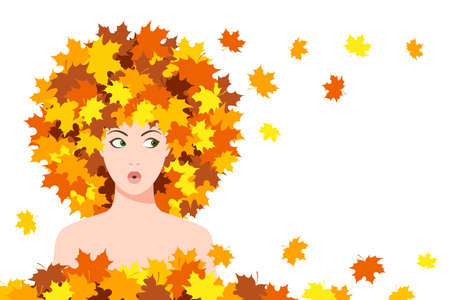 Beautiful surprised young woman with maple leaves on her head and around her, looking with widened eyes in side. Concept of seasonal specifics, autumn concept, season discounts  イラスト・ベクター素材