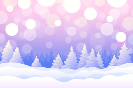 Winter background with snowy fir trees and snowdrifts in pink and blue colors, with beautiful radiance and glowing. Cute winter holiday landscape for Merry Christmas