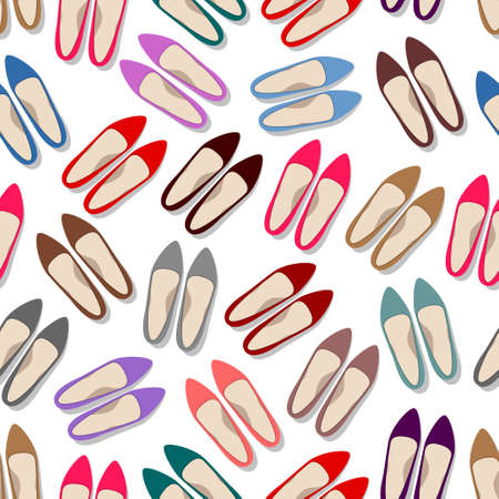 Many colored woman's shoes isolated over white background, seamless trendy pattern for decorating of shoe review, footwear shop. Fashion and beauty concept  イラスト・ベクター素材