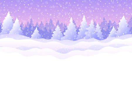Winter background with snowy fir trees, snowdrifts and snowfall in pink and blue colors. Cute winter holiday landscape for Merry Christmas