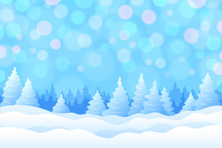 Winter background with snowy fir trees and snowdrifts in cold blue colors, with beautiful radiance and glowing. Cute winter holiday landscape for Merry Christmas