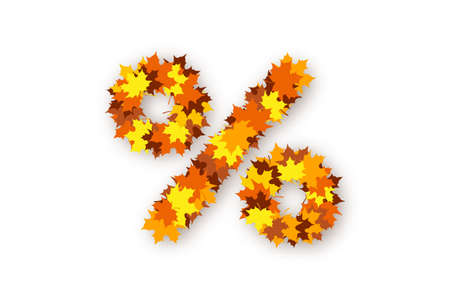 Percent sign made from bright yellow, orange and red maple leaves over white background. Concept of autumn discounts and price drop, decorations for seasonal sale, advertising and promotional banner