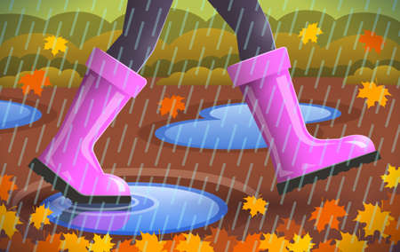 Legs of walking person, warm tights and pink rubber boots are on girl's feet over autumn background with falling leaves, puddles and rain. Concept of season specifics 写真素材