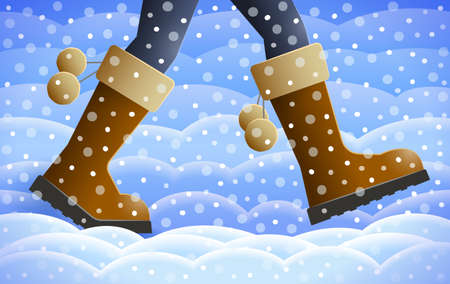 Legs of walking person, warm pants and boots are on girl's feet over winter background with snowfall and snowdrifts. Concept of season specifics 写真素材