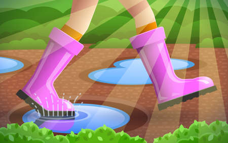Legs of walking person, stockings and pink rubber boots are on girl's feet over spring background with young greenery, puddles and sunlight. Concept of season specifics 写真素材