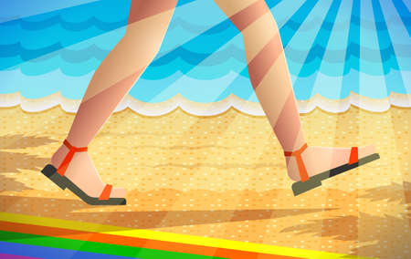 Legs of walking person, beach boots are on tanned girl's feet over summer background with sea, beach and sunlight. Concept of season specifics