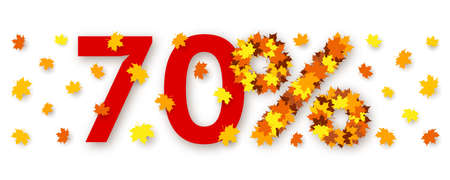 Red number seventy and percent sign made from maple leaves over white background. Concept of autumn discounts and price drop, decorations for seasonal sale, advertising and promotional banner  イラスト・ベクター素材