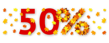 Red number fifty and percent sign made from maple leaves over white background. Concept of autumn discounts and price drop, decorations for seasonal sale, advertising and promotional banner