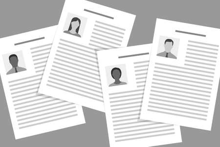 Resumes of job applicants of different races and sexes. Concept of equal rights of employment opportunity, discrimination in employment, racism and gender stereotypes during recruiting