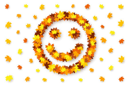Funny happy smiling face is made from maple leaves over white background. Concept of autumn good mood, discounts and sales, decoration for seasonal sale, advertising and promotional banner