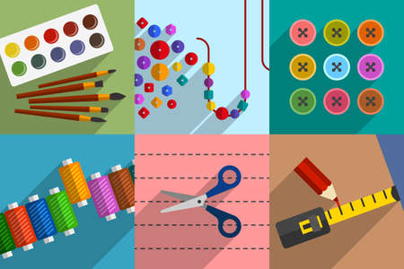 Collection of subjects and tools for do-it-yourself projects, creative hobbies, handmade works and leisure activities, home pastime, workshop accessories. DIY concept, cartoon flat style