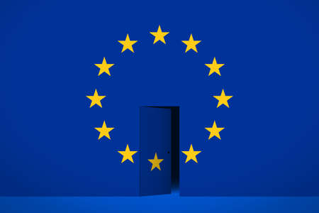 The EU flag and the half-open door in the center, dark space is behind the door. Concept of withdrawal from the European Union or join the EU, entering or leaving of territory, crossing of borders