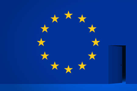 The EU flag and the half-open door in side, dark space is behind the door. Concept of withdrawal from the European Union or join the EU, entering or leaving of territory, crossing of borders