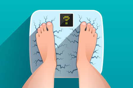Woman is standing on broken cracked weight scales with question mark on display, over colored background, top view of feet. Weight measurement and control. Concept of overweight, time to dieting  イラスト・ベクター素材