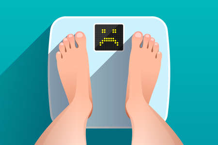 Woman is standing on bathroom scales with unhappy sad face on display, over colored background, top view of feet. Weight measurement and control. Concept of healthy lifestyle, dieting and fitness